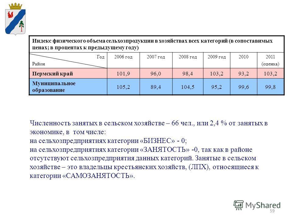 59 Индекс физического объема сельхозпродукции в хозяйствах всех категорий (в сопоставимых ценах; в процентах к предыдущему году) Год Район 2006 год2007 год2008 год2009 год20102011 (оценка) Пермский край101,996,098,4103,293,2103,2 Муниципальное образо