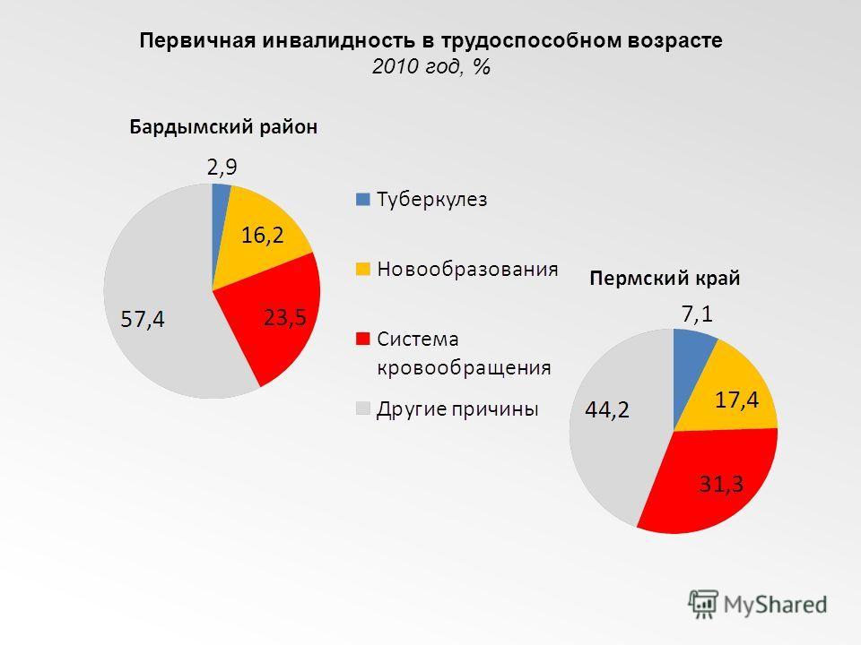 Первичная инвалидность в трудоспособном возрасте 2010 год, %
