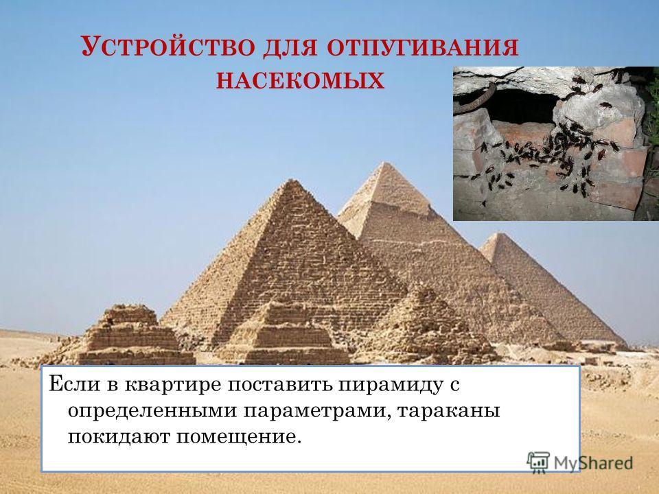 У СТРОЙСТВО ДЛЯ ОТПУГИВАНИЯ НАСЕКОМЫХ Если в квартире поставить пирамиду с определенными параметрами, тараканы покидают помещение.