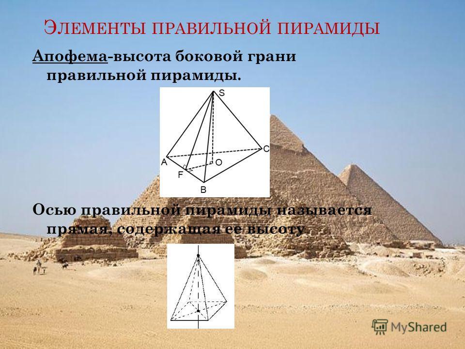 Э ЛЕМЕНТЫ ПРАВИЛЬНОЙ ПИРАМИДЫ Апофема-высота боковой грани правильной пирамиды. Осью правильной пирамиды называется прямая, содержащая ее высоту