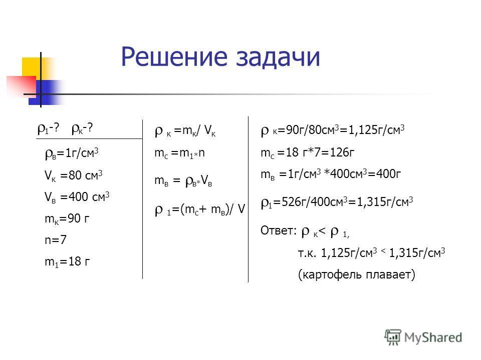 Решение задачи 1 -? к -? в =1г/см 3 V к =80 см 3 V в =400 см 3 m к =90 г n=7 m 1 =18 г к =m к / V к m с =m 1* n m в = в* V в 1 =(m с + m в )/ V к =90г/80см 3 =1,125г/см 3 m с =18 г*7=126г m в =1г/см 3 *400см 3 =400г 1 =526г/400см 3 =1,315г/см 3 Ответ