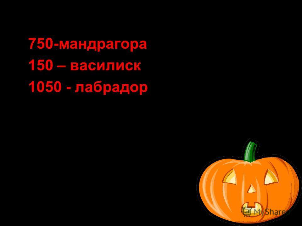 750-мандрагора 150 – василиск 1050 - лабрадор
