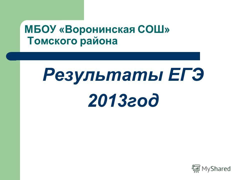 МБОУ «Воронинская СОШ» Томского района Результаты ЕГЭ 2013год