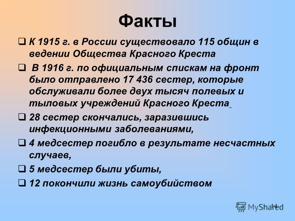 Факты К 1915 г. в России существовало 115 общин в ведении Общества Красного Креста В 1916 г. по официальным спискам на фронт было отправлено 17 436 сестер, которые обслуживали более двух тысяч полевых и тыловых учреждений Красного Креста 28 сестер ск