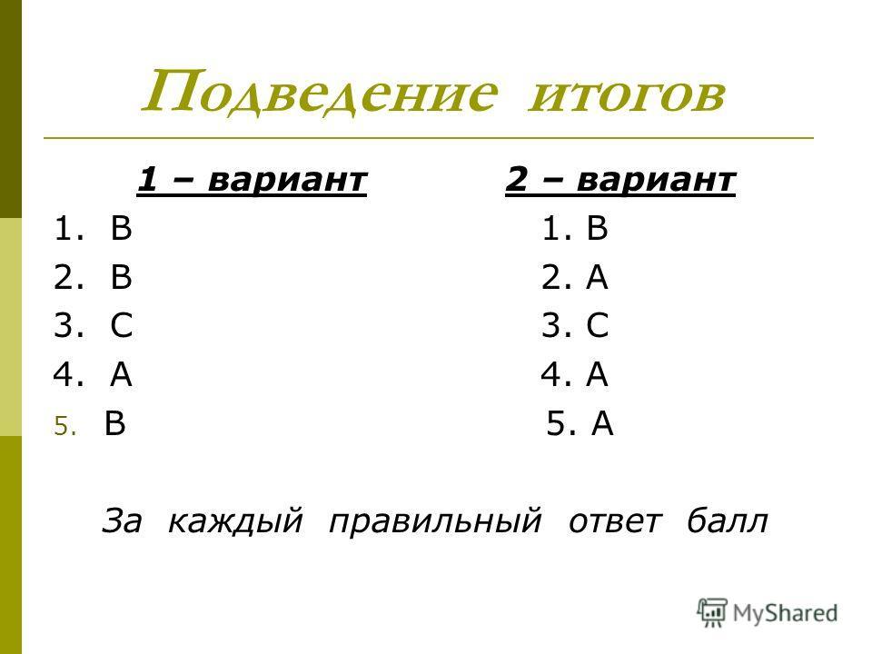 Подведение итогов 1 – вариант 2 – вариант 1. B 2. B 2. A 3. C 4. A 5. B 5. A За каждый правильный ответ балл