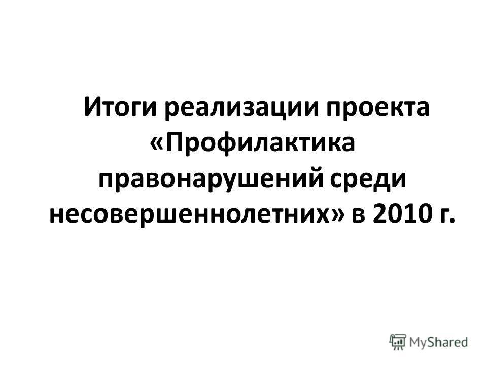 Итоги реализации проекта «Профилактика правонарушений среди несовершеннолетних» в 2010 г.