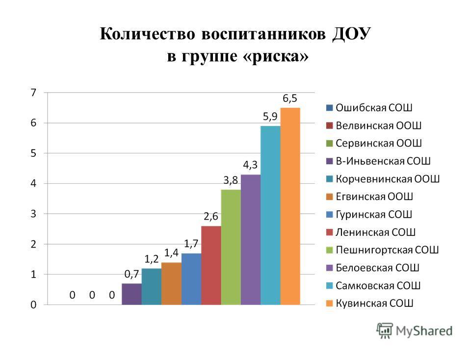 Количество воспитанников ДОУ в группе «риска»