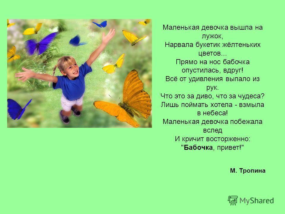 Маленькая девочка вышла на лужок, Нарвала букетик жёлтеньких цветов... Прямо на нос бабочка опустилась, вдруг! Всё от удивления выпало из рук. Что это за диво, что за чудеса? Лишь поймать хотела - взмыла в небеса! Маленькая девочка побежала вслед И к