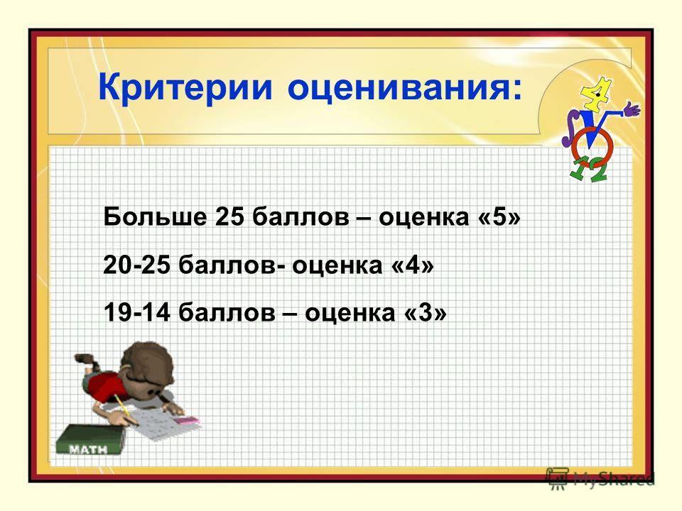 Критерии оценивания: Больше 25 баллов – оценка «5» 20-25 баллов- оценка «4» 19-14 баллов – оценка «3»