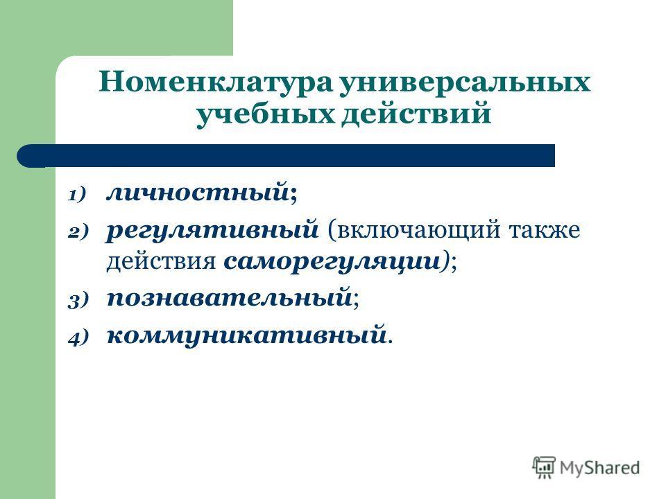 Номенклатура универсальных учебных действий 1) личностный; 2) регулятивный (включающий также действия саморегуляции); 3) познавательный; 4) коммуникативный.