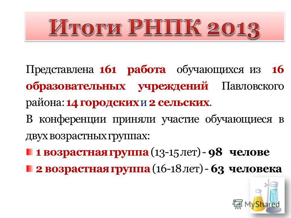 Представлена 161 работа обучающихся из 16 образовательных учреждений Павловского района: 14 городских и 2 сельских. В конференции приняли участие обучающиеся в двух возрастных группах: 1 возрастная группа (13-15 лет) - 98 челове 2 возрастная группа (