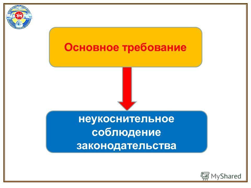 Основное требование неукоснительное соблюдение законодательства