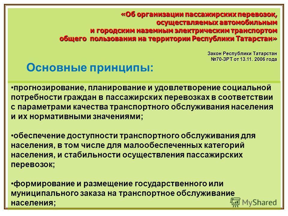 «Об организации пассажирских перевозок, осуществляемых автомобильным осуществляемых автомобильным и городским наземным электрическим транспортом общего пользования на территории Республики Татарстан» общего пользования на территории Республики Татарс