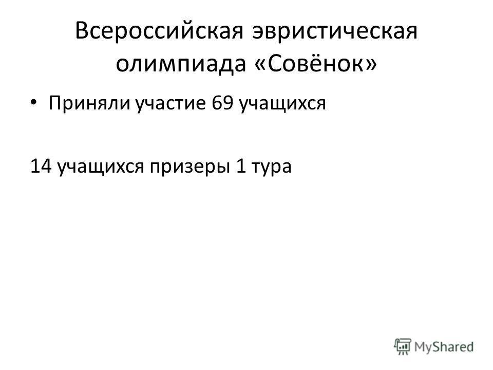 Всероссийская эвристическая олимпиада «Совёнок» Приняли участие 69 учащихся 14 учащихся призеры 1 тура