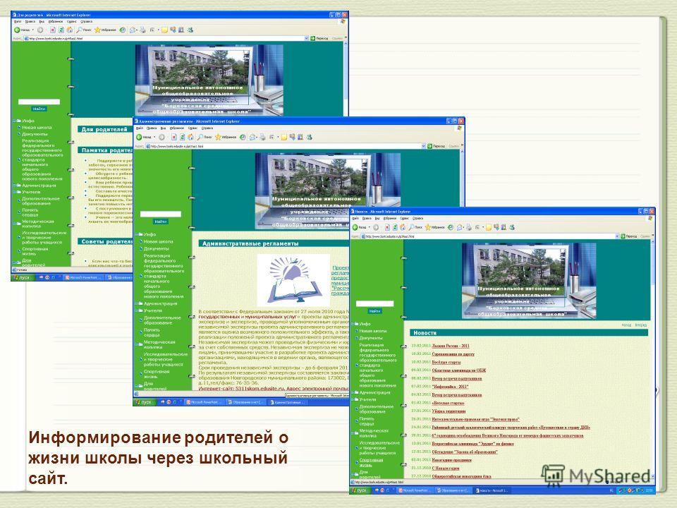 Информирование родителей о жизни школы через школьный сайт.