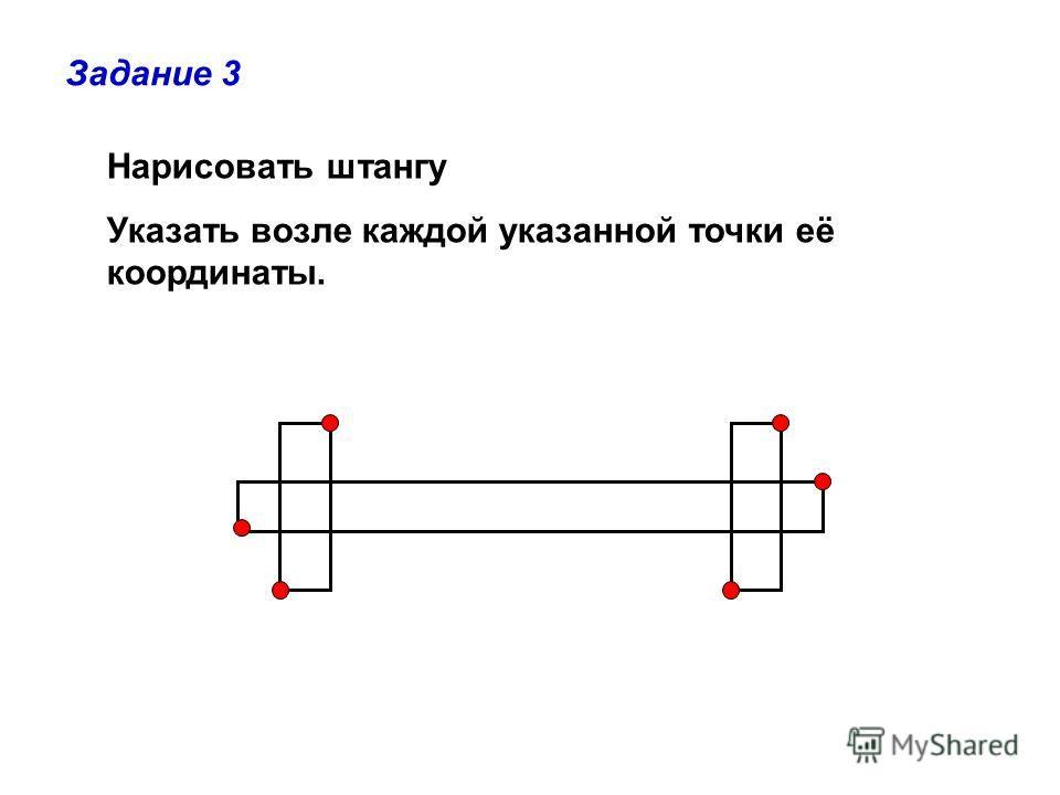Нарисовать штангу Указать возле каждой указанной точки её координаты. Задание 3