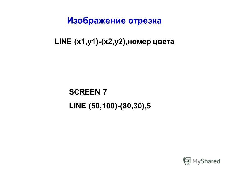 Изображение отрезка LINE (x1,y1)-(x2,y2),номер цвета SCREEN 7 LINE (50,100)-(80,30),5