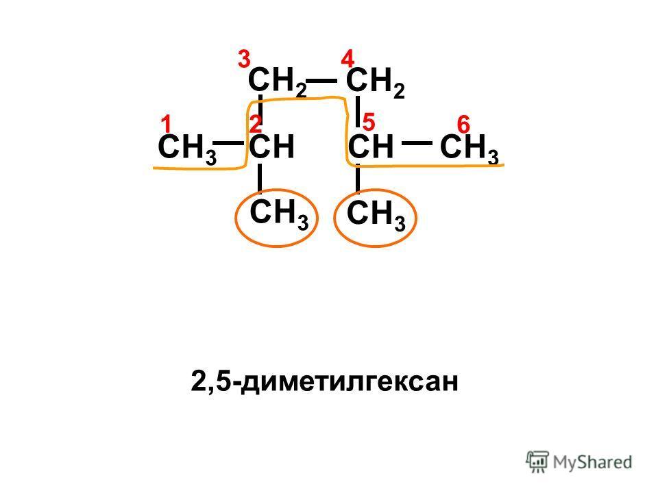 CH 3 CHCH 3 CH 2 CH CH 2 4 12 3 6 5 2,5-диметилгексан