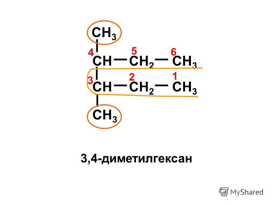 CHCH 2 CH 3 CHCH 2 CH 3 4 1 2 3 6 5 3,4-диметилгексан