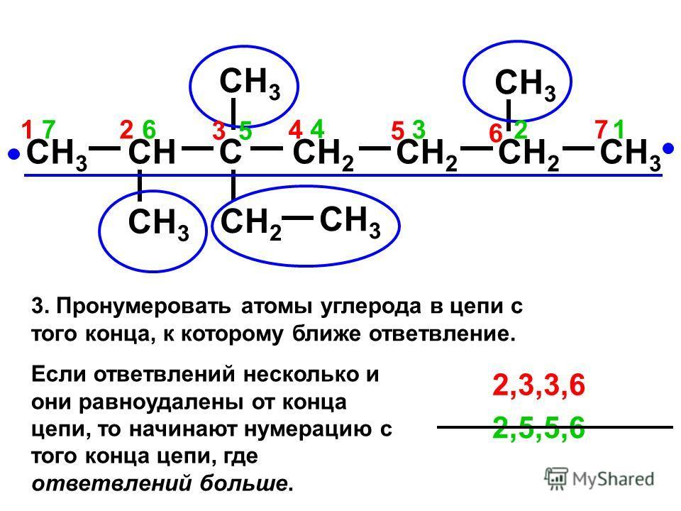 CH 3 CH C CH 2 CH 3 CH 2 CH 3 CH 2 7 2 3 1 6 5 4172 3 6 5 4 2,5,5,6 2,3,3,6 3. Пронумеровать атомы углерода в цепи с того конца, к которому ближе ответвление. Если ответвлений несколько и они равноудалены от конца цепи, то начинают нумерацию с того к