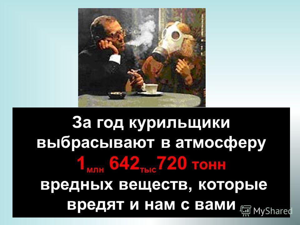 13 За год курильщики выбрасывают в атмосферу 1 млн 642 тыс 720 тонн вредных веществ, которые вредят и нам с вами