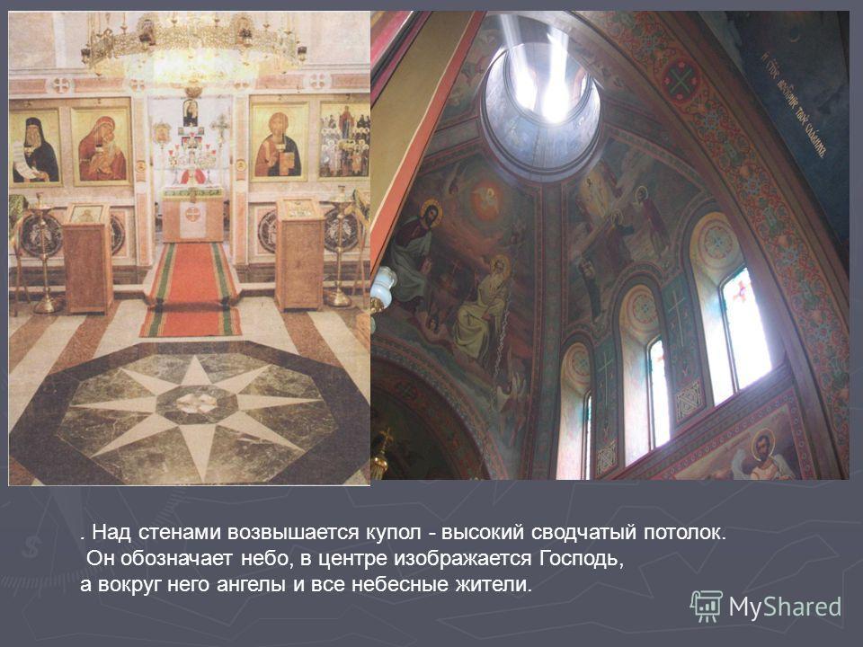 . Над стенами возвышается купол - высокий сводчатый потолок. Он обозначает небо, в центре изображается Господь, а вокруг него ангелы и все небесные жители.