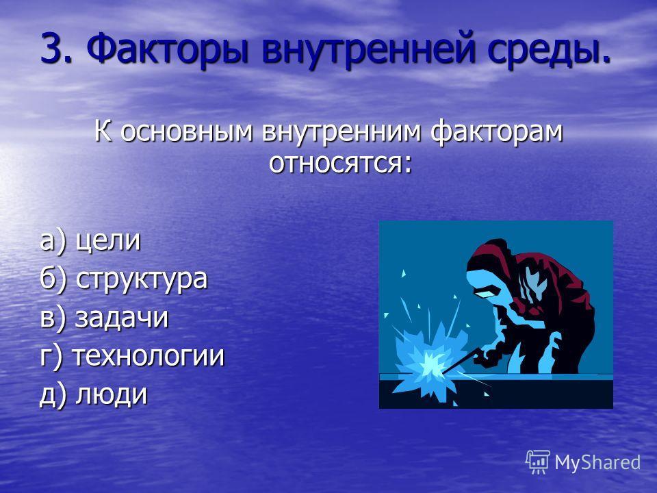 3. Факторы внутренней среды. К основным внутренним факторам относятся: а) цели б) структура в) задачи г) технологии д) люди