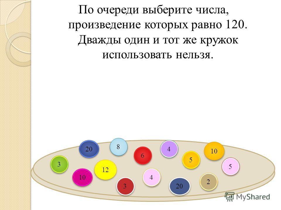 По очереди выберите числа, произведение которых равно 120. Дважды один и тот же кружок использовать нельзя. 3 3 2 2 5 5 10 5 5 4 4 8 8 20 12 6 6 3 3 4 4 20 10