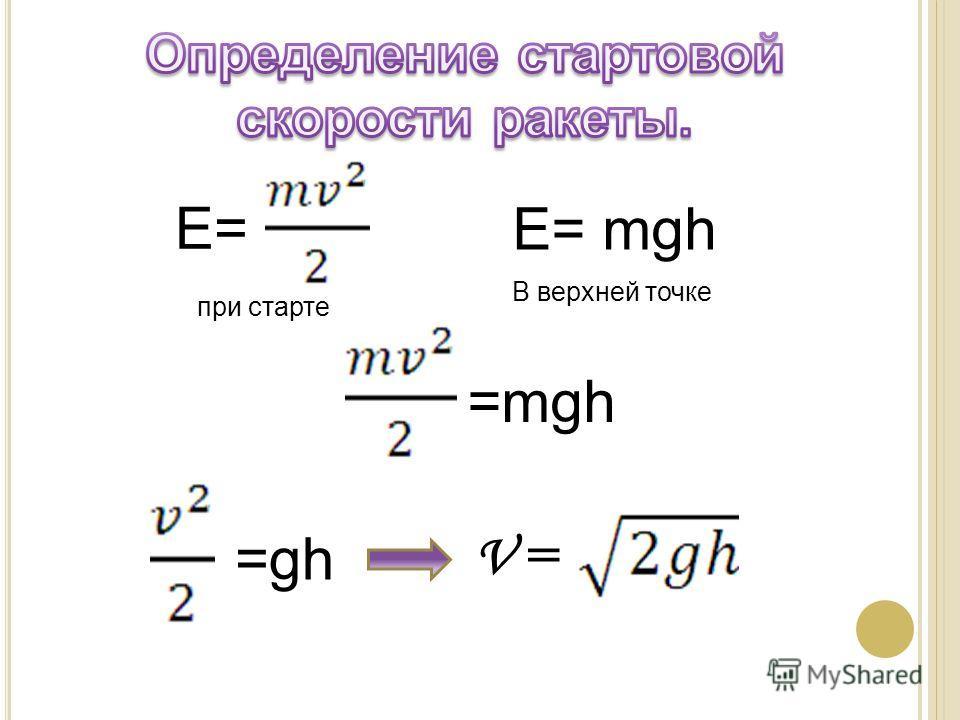 E=E= E= mgh при старте В верхней точке =mgh =gh V =