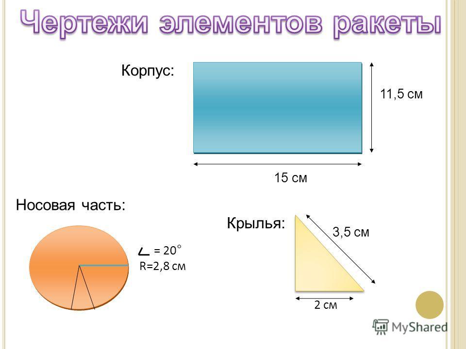 3,5 см 2 см 11,5 см 15 см = 20° R=2,8 см Корпус: Носовая часть: Крылья: