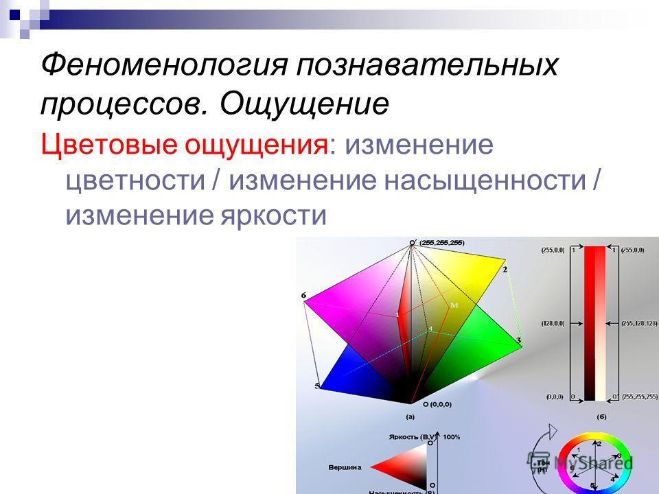 Феноменология познавательных процессов. Ощущение Цветовые ощущения: изменение цветности / изменение насыщенности / изменение яркости
