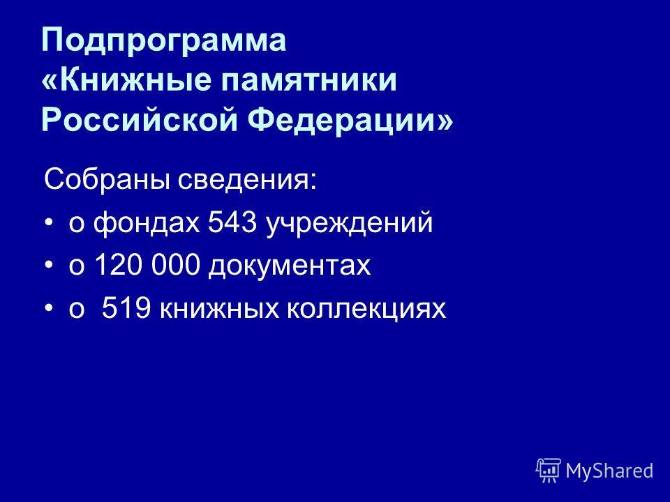 Подпрограмма «Книжные памятники Российской Федерации» Собраны сведения: о фондах 543 учреждений о 120 000 документах о 519 книжных коллекциях