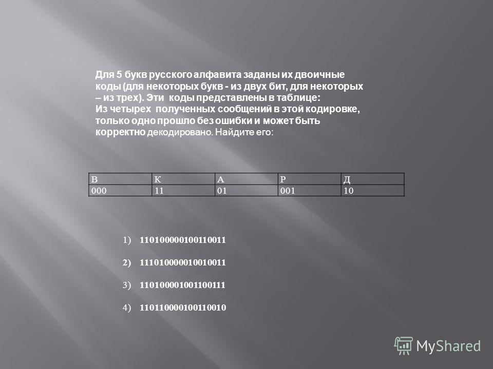 ВКАРД 000110100110 1)110100000100110011 2)111010000010010011 3)110100001001100111 4)110110000100110010 Для 5 букв русского алфавита заданы их двоичные коды (для некоторых букв из двух бит, для некоторых – из трех). Эти коды представлены в таблице: Из