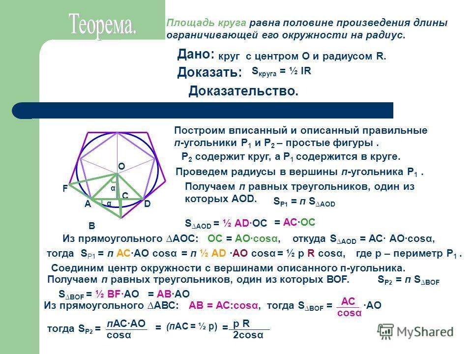 Площадь круга равна половине произведения длины ограничивающей его окружности на радиус. Дано: Доказать: Доказательство. круг с центром О и радиусом R. S круга = ½ lR F В DА С О α α Построим вписанный и описанный правильные п-угольники Р 1 и Р 2 – пр