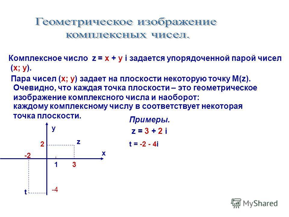 Комплексное число z = x + у i задается упорядоченной парой чисел (х; у). Пара чисел (х; у) задает на плоскости некоторую точку М(z). Очевидно, что каждая точка плоскости – это геометрическое изображение комплексного числа и наоборот: каждому комплекс