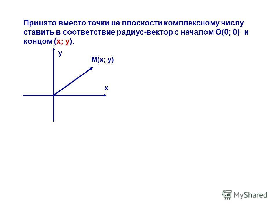 Принято вместо точки на плоскости комплексному числу ставить в соответствие радиус-вектор с началом О(0; 0) и концом (х; у). М(х; у) х у