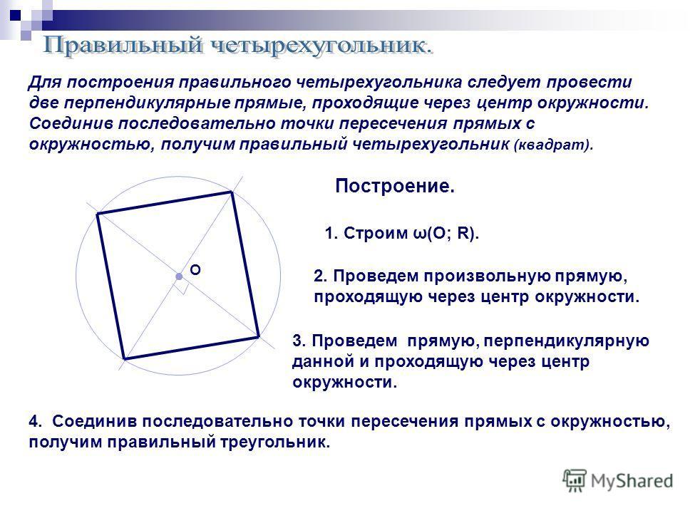 Построение. 1. Строим ω(О; R). О 4. Соединив последовательно точки пересечения прямых с окружностью, получим правильный треугольник. Для построения правильного четырехугольника следует провести две перпендикулярные прямые, проходящие через центр окру