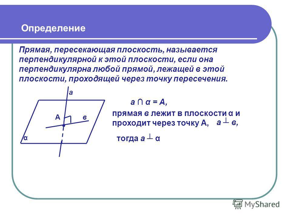 Определение Прямая, пересекающая плоскость, называется перпендикулярной к этой плоскости, если она перпендикулярна любой прямой, лежащей в этой плоскости, проходящей через точку пересечения. α прямая в лежит в плоскости α и проходит через точку А, а