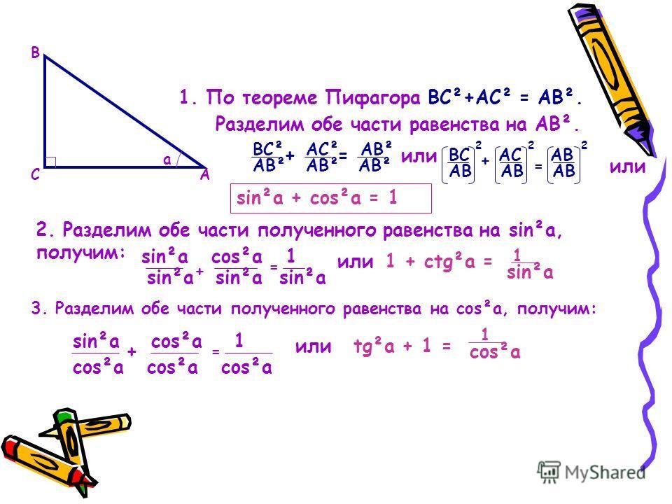 А В С a 1. По теореме Пифагора ВС²+АС² = АВ². Разделим обе части равенства на АВ². ВС² АС² АВ² АВ² +=или ВС АС АВ АВ АВ АВ 222 + = или sin²a + cos²a = 1 2. Разделим обе части полученного равенства на sin²a, получим: sin²a cos²a 1 sin²a cos²a + = или1