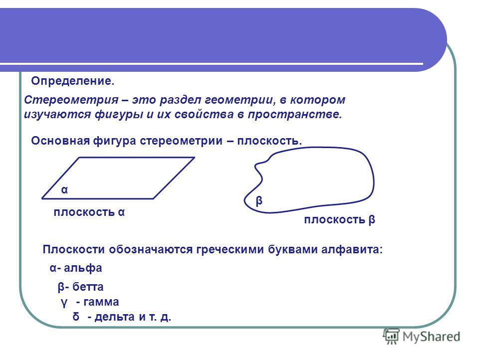 Определение. Стереометрия – это раздел геометрии, в котором изучаются фигуры и их свойства в пространстве. Основная фигура стереометрии – плоскость. α плоскость α β плоскость β Плоскости обозначаются греческими буквами алфавита: α- альфа β γ δ - бетт