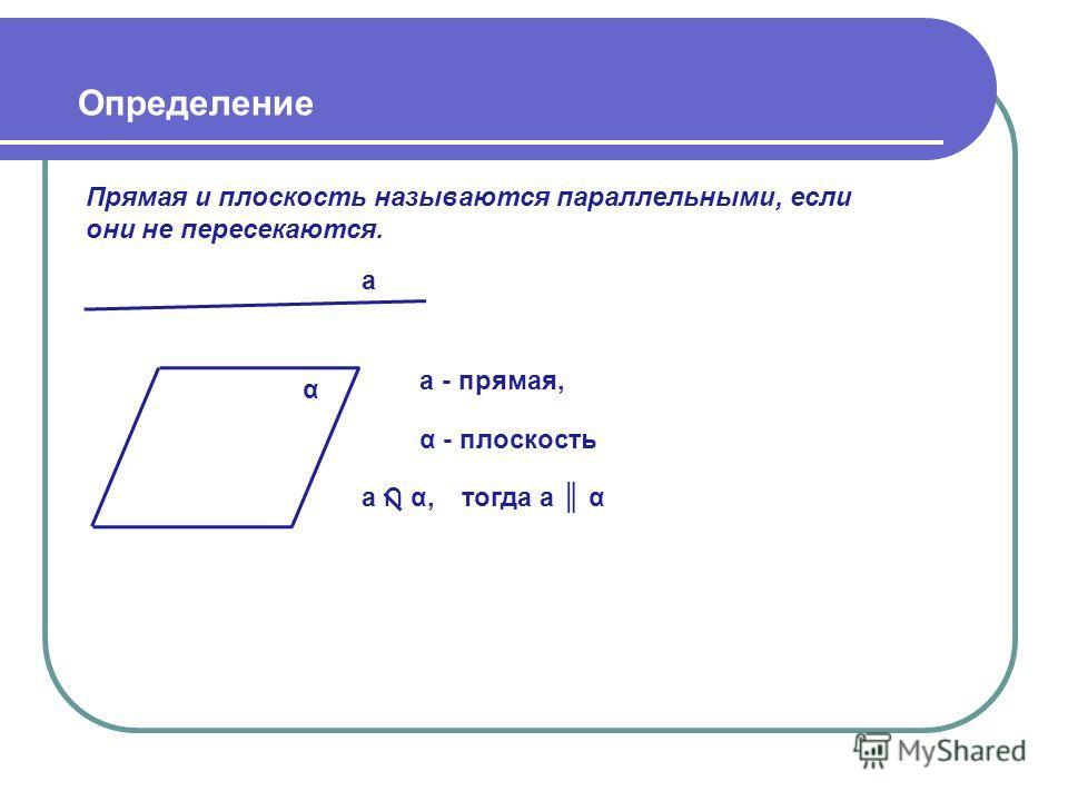 Определение Прямая и плоскость называются параллельными, если они не пересекаются. α а - прямая, α - плоскость а а α,тогда а α