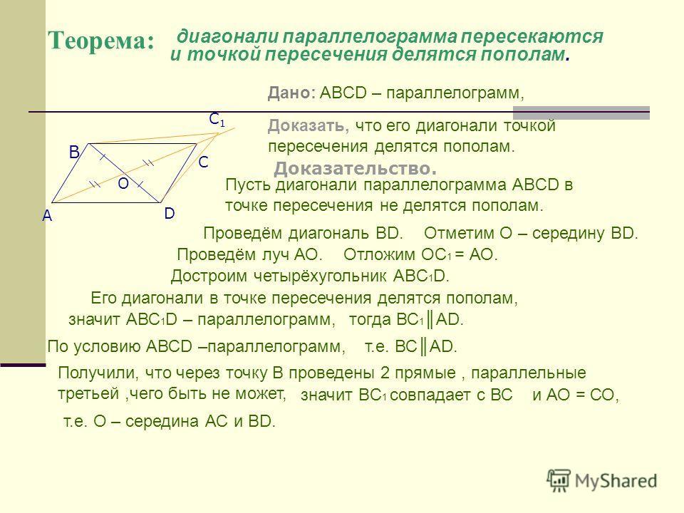 диагонали параллелограмма пересекаются и точкой пересечения делятся пополам. Доказательство. С D A B C1C1 O Теорема: Дано: ABCD – параллелограмм, Доказать, что его диагонали точкой пересечения делятся пополам. Отложим ОС 1 = АО. Проведём диагональ ВD