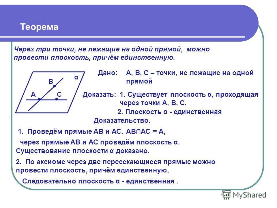 Теорема Через три точки, не лежащие на одной прямой, можно провести плоскость, причём единственную. α Доказательство. 1. Проведём прямые АВ и АС. В АС Дано:А, В, С – точки, не лежащие на одной прямой Доказать:1. Существует плоскость α, проходящая чер
