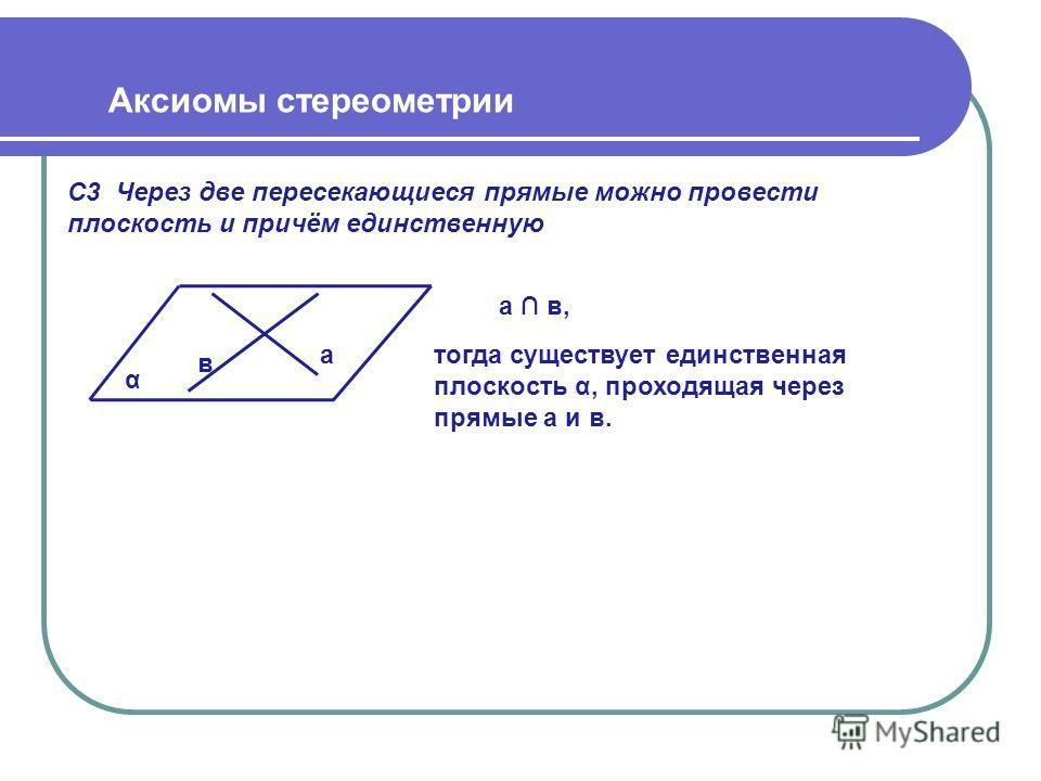 С3 Через две пересекающиеся прямые можно провести плоскость и причём единственную Аксиомы стереометрии α в а а в, тогда существует единственная плоскость α, проходящая через прямые а и в.