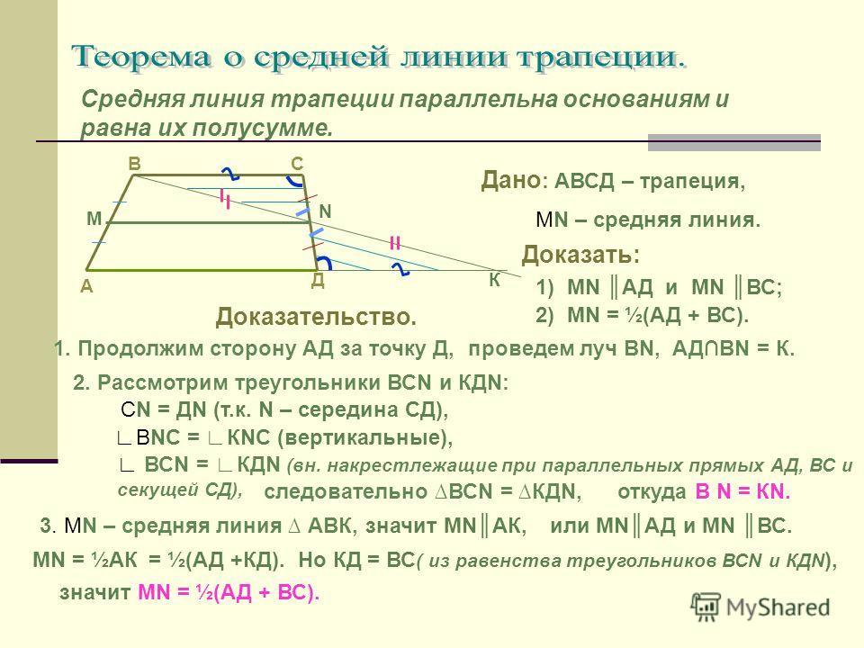 Средняя линия трапеции параллельна основаниям и равна их полусумме. А СВ Д N М К Дано : АВСД – трапеция, МN – средняя линия. Доказать: 1) МN АД и МN ВС; 2) МN = ½(АД + ВС). Доказательство. 1. Продолжим сторону АД за точку Д,проведем луч ВN,АДВN = К.