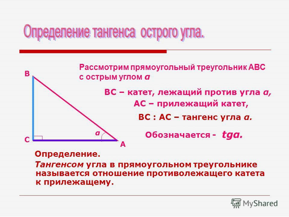 Определение. Тангенсом угла в прямоугольном треугольнике называется отношение противолежащего катета к прилежащему. Рассмотрим прямоугольный треугольник АВС с острым углом α А В С α ВС – катет, лежащий против угла α, АС – прилежащий катет, ВС : АС –