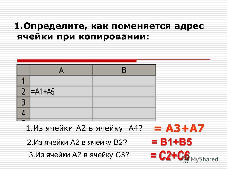 1.Определите, как поменяется адрес ячейки при копировании: 1.Из ячейки А2 в ячейку А4? = А3+А7 2.Из ячейки А2 в ячейку В2? 3.Из ячейки А2 в ячейку С3?