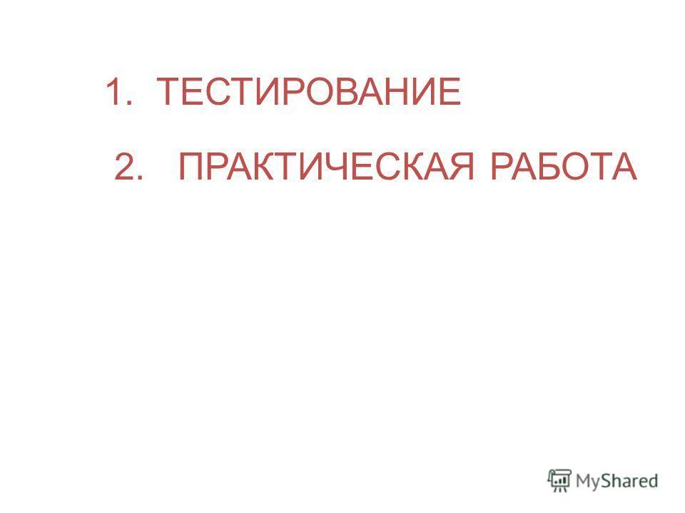 1. ТЕСТИРОВАНИЕ 2. ПРАКТИЧЕСКАЯ РАБОТА