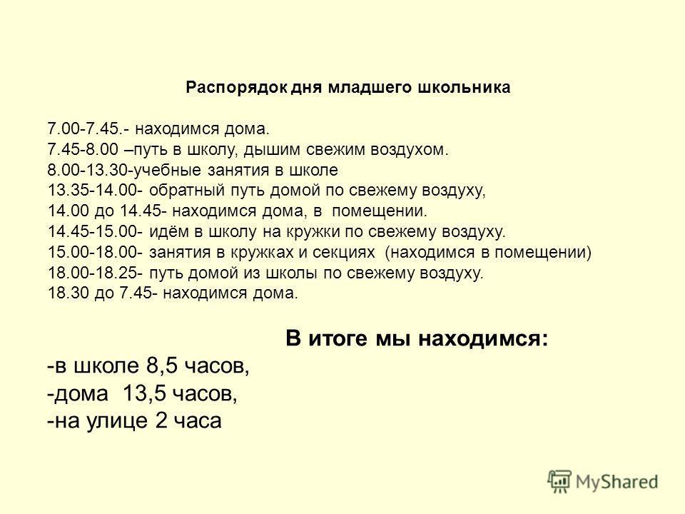 Распорядок дня младшего школьника 7.00-7.45.- находимся дома. 7.45-8.00 –путь в школу, дышим свежим воздухом. 8.00-13.30-учебные занятия в школе 13.35-14.00- обратный путь домой по свежему воздуху, 14.00 до 14.45- находимся дома, в помещении. 14.45-1