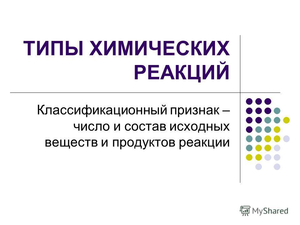 ТИПЫ ХИМИЧЕСКИХ РЕАКЦИЙ Классификационный признак – число и состав исходных веществ и продуктов реакции